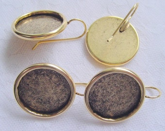 2 Pairs Large Circle Drop Antique Gold Earring Blanks  (No. ND120)