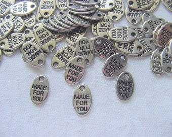 75 Pieces Made For You Antique Silver Tag Charms