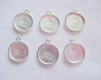 6 Pendant or Earring Blanks Sterling Silver Plated Round Circle Mini Link Single Loop  (No. ND140)