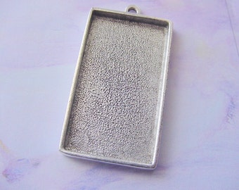 2 Pieces Extra Large Silver Plated Pewter Rectangle Pendant Tray (No. ND108)