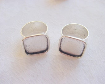 4 Ring Blanks Adjustable Wide Band Large Square Antiqued Silver Plated  ND113