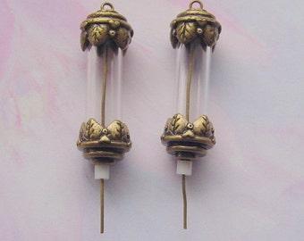 6 Vial Tube Pendants Antique Brass (No. 073)