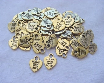 65 Pieces Hand Made With Love  Antique Gold Tag Charms