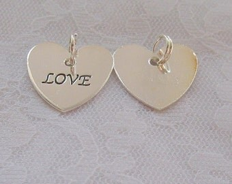 20 Love Heart Charms With Split Ring