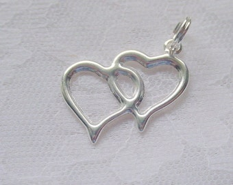 20 Silver Double Heart Outline Charms  With Split Jump Rings