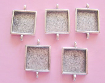 5 Square Pendant Bracelet Trays Silver Plated Pewter  Double Loop 5/8 Inch (16mm) (No. ND143)