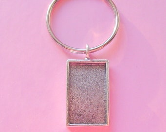 Silver Rectangle Key Ring Jewelry Blank Silver Plated Pewter Made In The USA