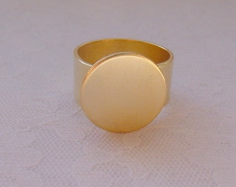 7 Ring Blanks 16mm Circle Gold Plated Adjustable Flat Top (No. ND207) Made In The USA