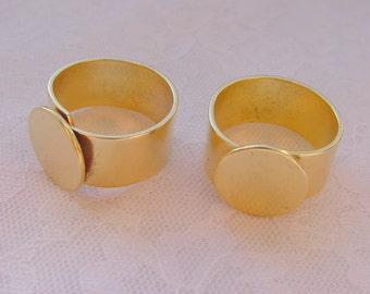 4 Ring Blank Wide Band  13mm circle Gold Plated Adjustable Flat Top (No. ND208) Made In The USA