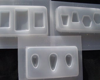 Resin Molds 3 Trays Rectangles, Teardrops, Hexagons and Triangles (386, 385, 387)