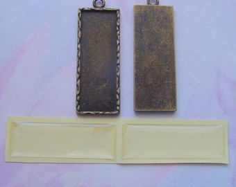 4 Long Rectangle  Frame Charm Pendant Blanks With Epoxy Adhesive Covers  (No. 026)