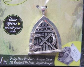 2 Fairy Door Wish Keeper Locket / Pendant Antique Silver 2002