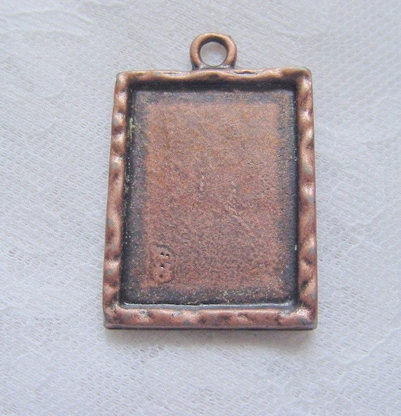 2 Rectangle  Frame Charm Pendant Blanks With Epoxy Adhesive Covers  (No. 034)
