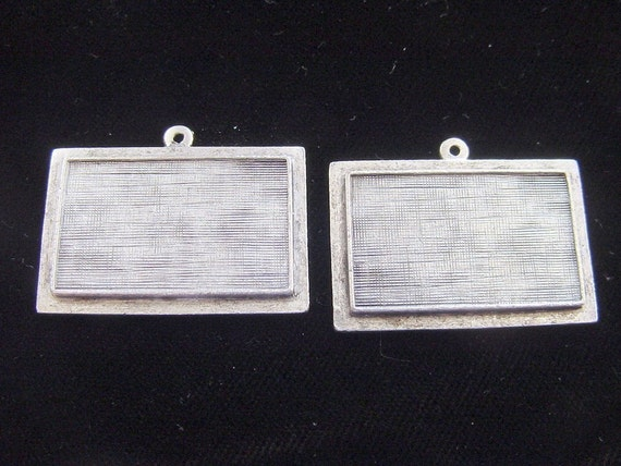 2  Raised  Rectangle Pendant Trays Antique Silver Plated Pewter  (No. ND132)