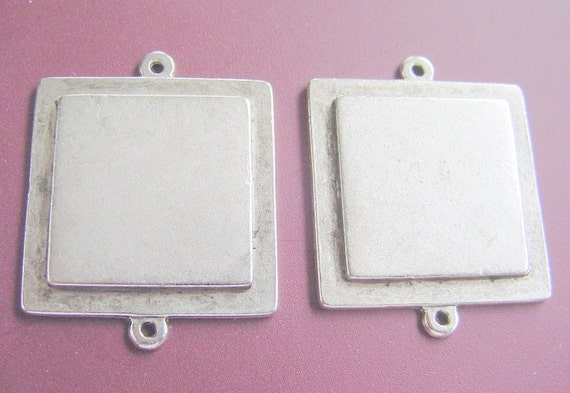 2 Square  Pendant Tray Blanks Raised Tag Double Loop Made In The USA (No. ND173)