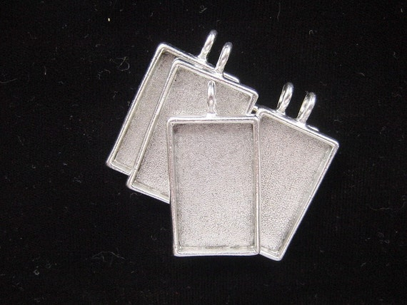 6 Pendant Blank Trays Large Rectangle Silver Plated Pewter(No. ND105) 1-1/4x3/4 Inch (19x31mm)