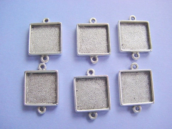5 Pieces Antique Silver Plated Square Mini Link Double Loop Jewelry Tray (No. ND 152)