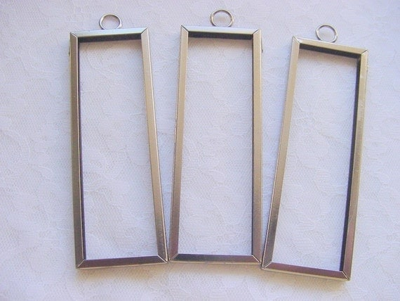 3 Pieces Rectangle Black Patina Photo Art Frame Pendant by Ranger