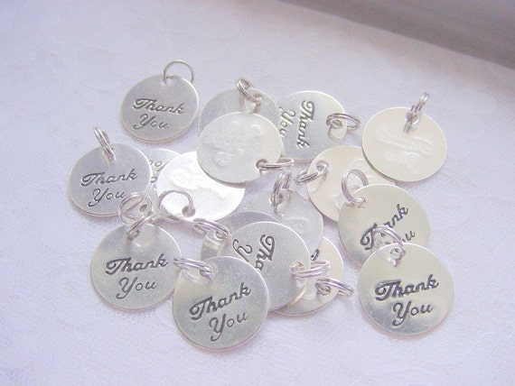 10 Thank You Charms With Split Ring