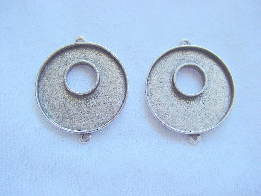 2 toggle loop pendant blanks silver plated pewter