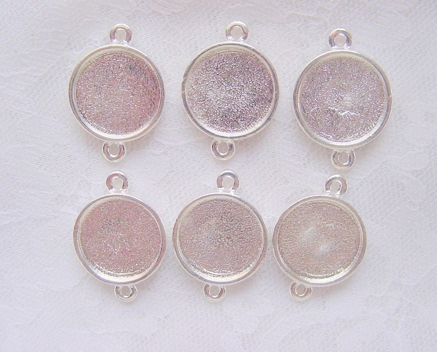 5 pendant earring blanks sterling silver plated