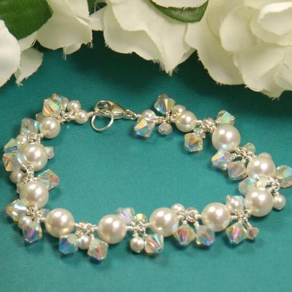 Pearl Bride Bracelet, Wedding, Shimmery Pearl Bridal Bracelet.Swarovski Pearls & Crystals in Sterling Silver for Brides or Bridesmaids