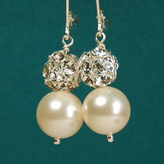 Rhinestone Pearl Earrings, Bridal Leverback Earrings, Swarovski Pearl in Sterling Silver, Bridesmaid Earring, The Ivory Sparkle Earrings
