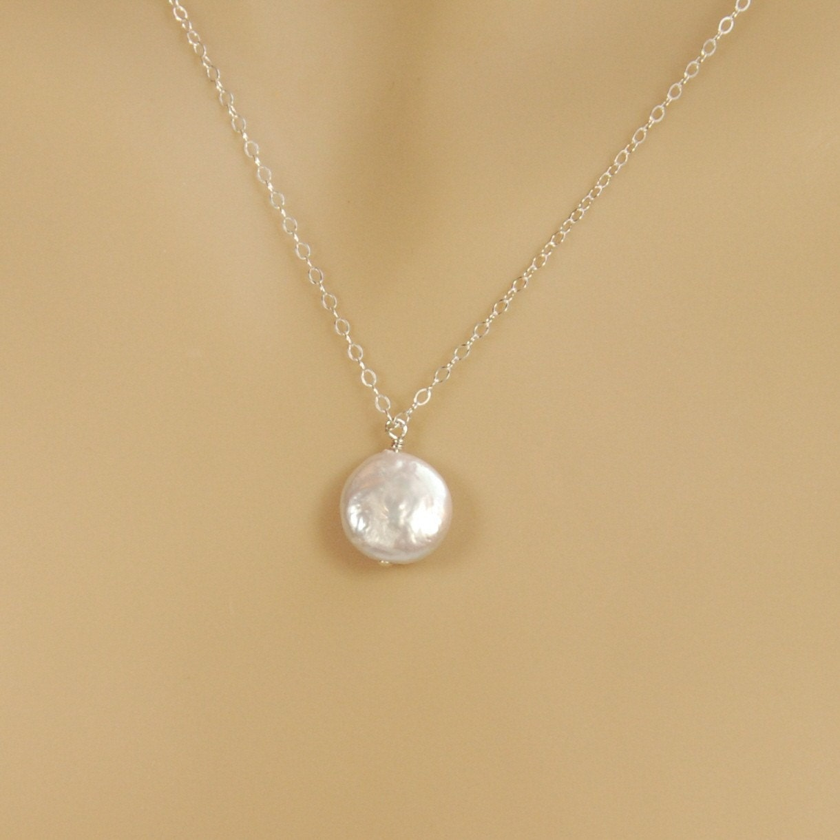 Necklace With A Pearl: Bridesmaid Pearl Necklace Single Coin Pearl In Sterling