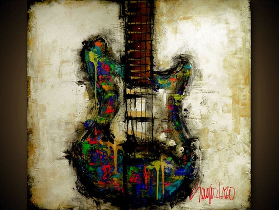 Original Painting - Modern Abstract Guitar Art by SLAZO - Made to Order