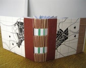 Small Handmade Book- Brown Leather Spine, Vintage Paper