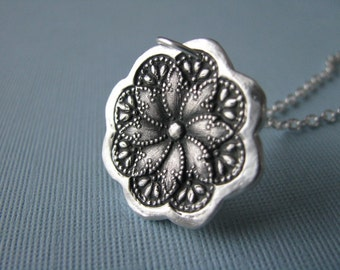 Silver Lace Necklace, Silver Lace Charm