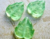 Lime/Mint Green Czech Pressed Glass Leaf Beads 10x12mm (23)