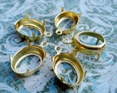 Gold Plated 14x10mm 1 Ring Open Back Oval Settings for Rhinestone Jewels or Cabs (6 pieces)