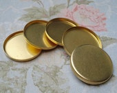 25mm Brass Round Closed Back Bezel Settings with 2.6mm High Wall for Flat Back Cabs or Jewels (6 pcs)