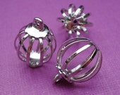 Silver Plated Brass 14x11mm Bird Cage Charms (6 pieces)