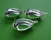 Silver Plated 18x13mm Pear/Teardrop 1 Ring/Loop Open Back Settings for Jewels or Cabs (6 pieces)