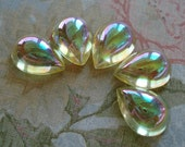 Vintage 18x13mm Jonquil Yellow AB Pear/Teardrop Unfoiled Flat Back Glass Bombes or Jewels (2 pieces)