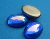 Vintage 18x13mm Sapphire Blue AB Fire Polished Gold Foiled Flat Back Oval Glass Cabs (3 pieces)
