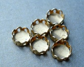Tiny Brass 5mm Scalloped Lace Edge Round Settings for your Flat Back Jewels or Cabs (12 pieces)