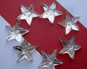 Vintage 10mm Clear Crystal Czech Preciosa Five Pointed Gold Foiled Flat Back Glass Star Jewels or Cabs (6 pieces)