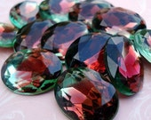 Vintage 18x13mm Ruby Red & Peridot  Gold Foiled Pointed Back Faceted Oval Glass Jewels (2 pieces)