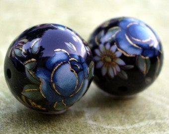 12mm Black Tensha Floral Beads, Japanese Handmade Blue Cabbage Rose Decal Beads (4 pieces)