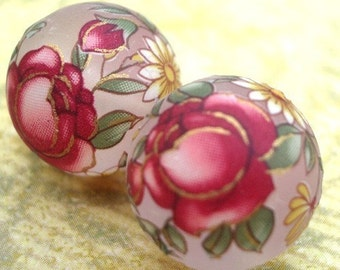 12mm Frosted Tensha Beads with Pink Cabbage Roses (2pcs)