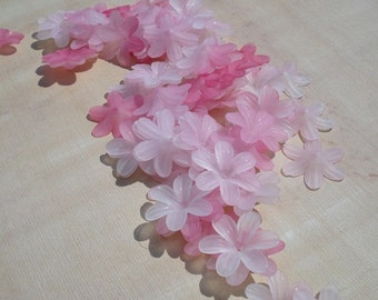 Frosted 23mm  Lucite 6 Petal Flowers in Shades of Pink (12 pieces)