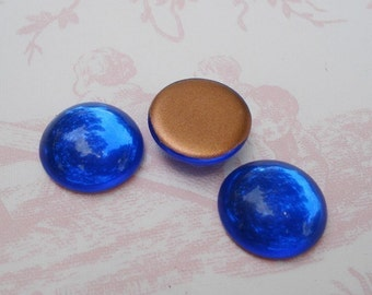 4 Vintage 18mm Sapphire Blue Gold Foiled Flat Back Round Cabochons