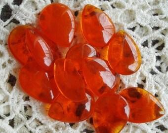 Vintage 18x13mm Pear/Teardrop Orange/Hyacinth Glass Jewels (2 pieces)