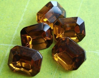 Vintage 8 x 10mm Smoke Topaz Glass Gold Foiled Pointed Back Octagon/Rectangle Rhinestone Jewels  (6 pieces)