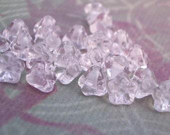 4x6mm Czech Light Transparent Rosaline Baby Bell Flower Glass Beads (25 pieces)