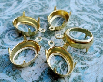 14 x 10mm Gold Plated 1 Ring Open Back Oval Rhinestone Prong Settings for Pointed Back or Flat Back Cabs 12pcs