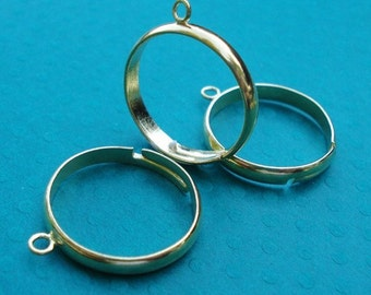 Gold Adjustable 3mm Ring Band with 1 Ring/Loop for Dangling Beads or Charms (4 pieces)